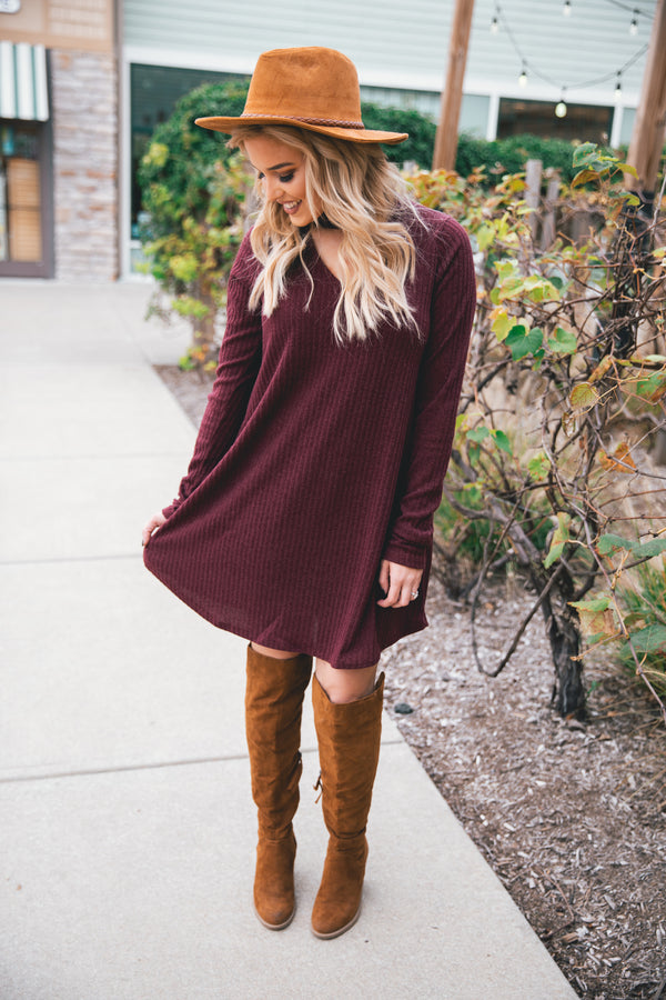 Addison Ribbed Choker Dress - Wine - Barefoot Dreamer