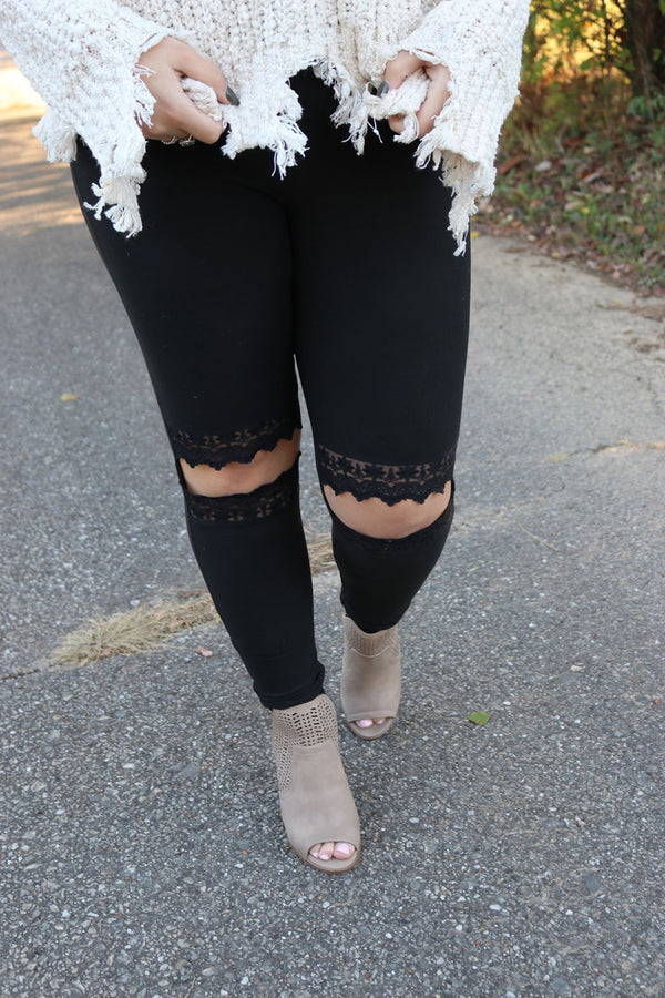Adelaide Lace Cut Out Black Leggings - Curvy