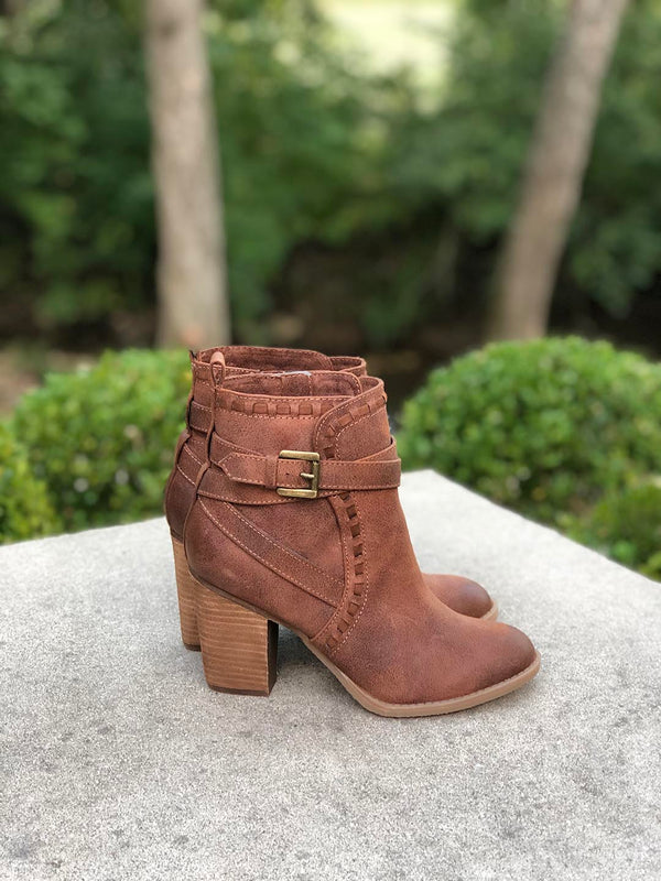 Carlie Booties with Stacked Heel
