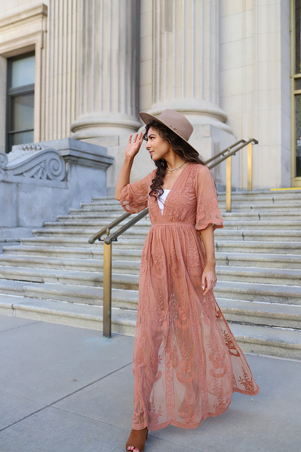 Amelia Embroidered Lace Maxi Romper - French Rose - Barefoot Dreamer