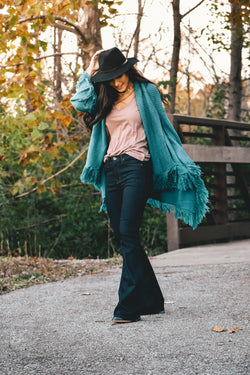 Avery Waterfall Fringe Cardigan - Peacock - Barefoot Dreamer
