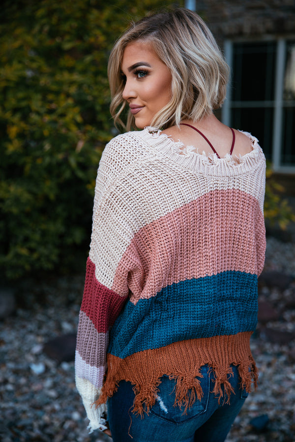 Autumn Distressed Colorblock Knit Sweater