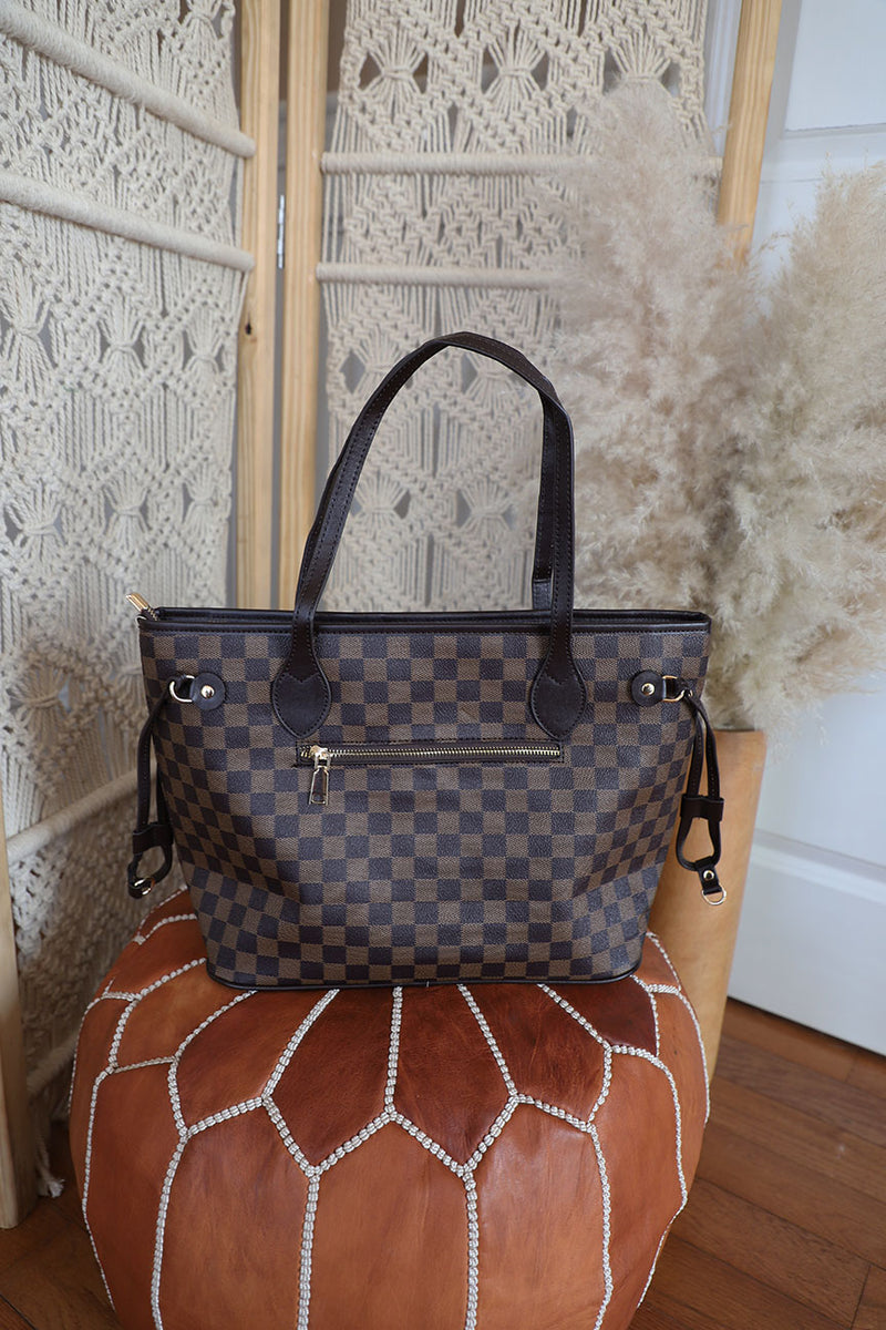 The Luxe Checkered Tote- Brown