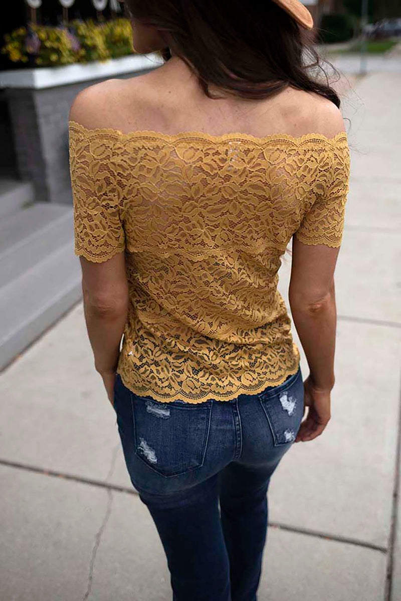 Haelyn Lace Scalloped Off Shoulder Top - Mustard