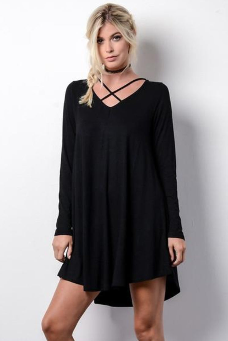 Aria Front Cross Strap Knit Dress - Black - Barefoot Dreamer