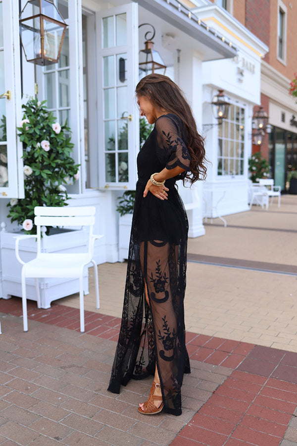 Amelia Embroidered Lace Maxi Romper - Black - Barefoot Dreamer