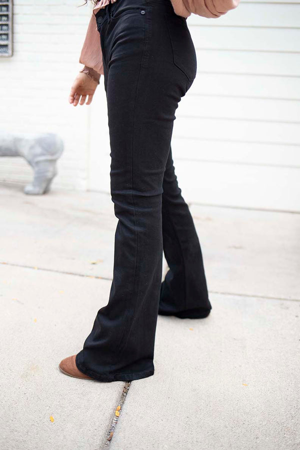 Wild For You Black Flare Jeans - Mid RIse