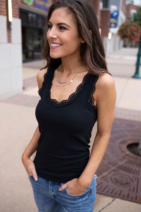 Echo Lace Tank Top - Black - Barefoot Dreamer