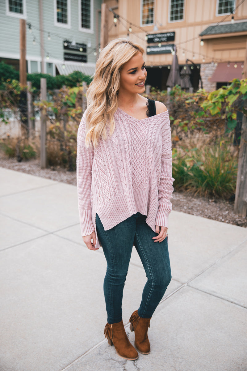 Everly Cable Knit Sweater - Blush - Barefoot Dreamer
