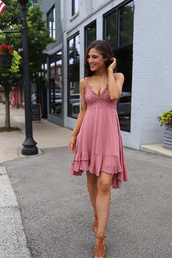 Arabella Scalloped Lace Bralette Dress  - Dusty Rose - Barefoot Dreamer