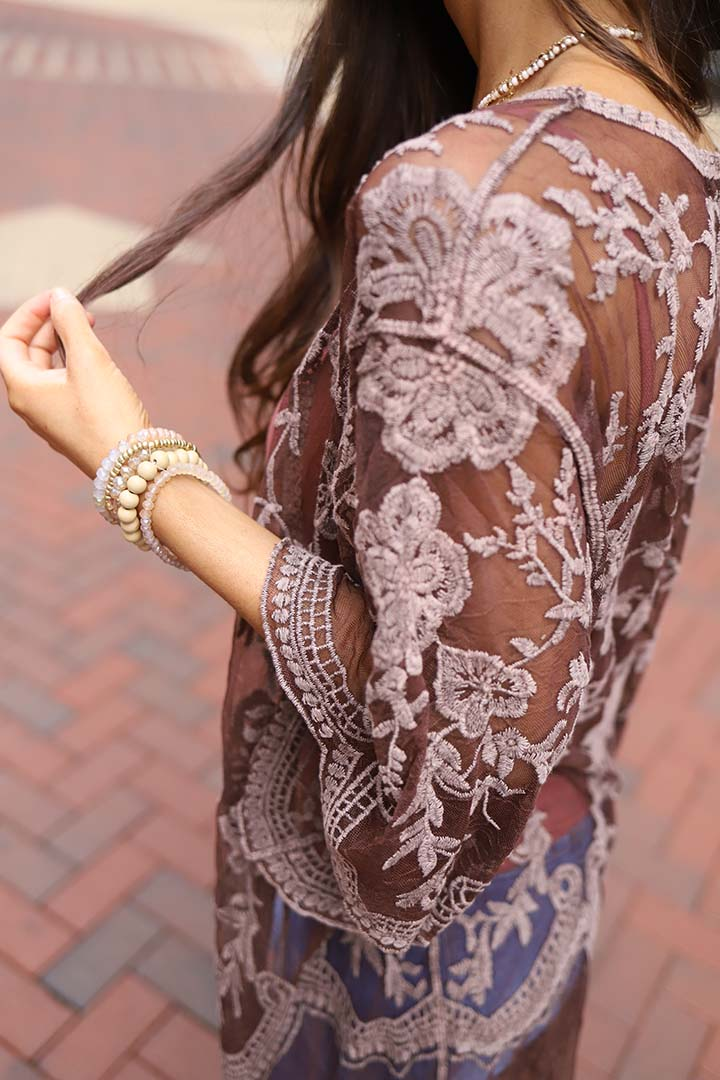 Celeste Stone Washed Lace Kimono Duster - Brown - Barefoot Dreamer