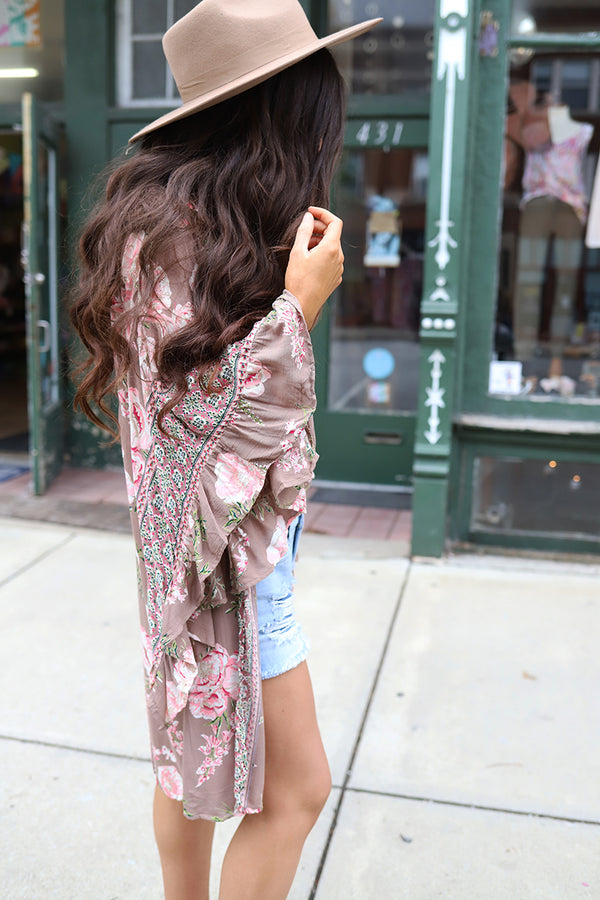 Floral Romance Ruffled Bell Sleeve Floral Kimono