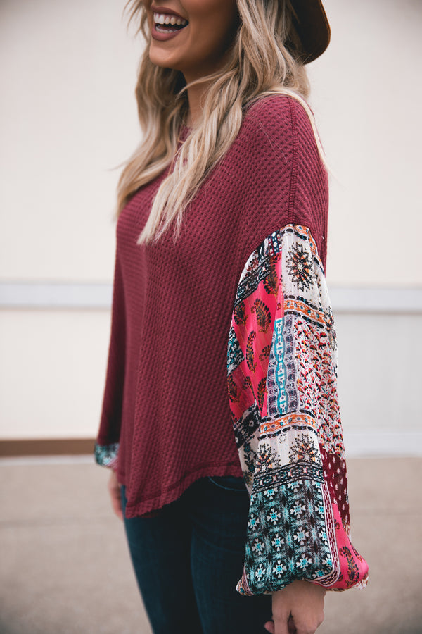 Mallory Patterned Bubble Sleeve Thermal Knit Top - Wine - Barefoot Dreamer