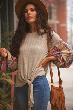 Wild and Free Boho Patterned Bubble Sleeve Top - Barefoot Dreamer