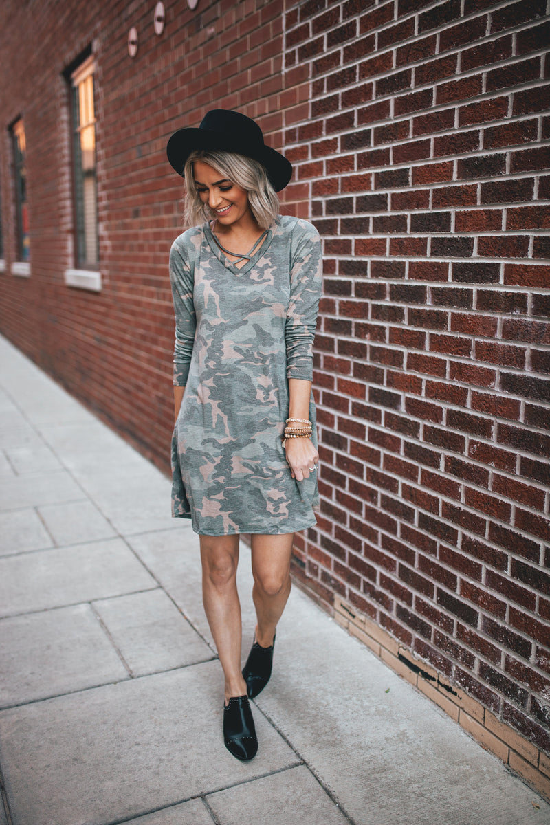 Into The Woods Camo Print Long Sleeve T-Shirt Dress - Barefoot Dreamer