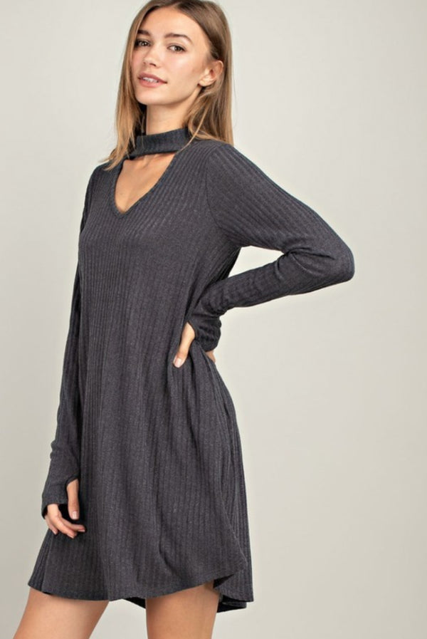 Addison Ribbed Choker Dress - Charcoal - Barefoot Dreamer
