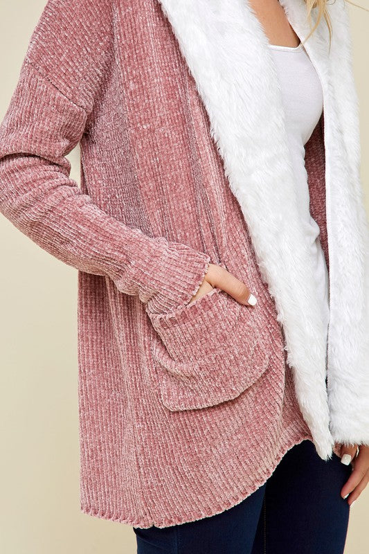 Emryn Chenille Open Front Fur Trimmed Cardigan - Dusty Rose - Barefoot Dreamer