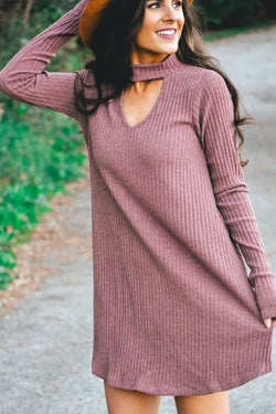 Addison Ribbed Choker Dress - Marsala - Barefoot Dreamer