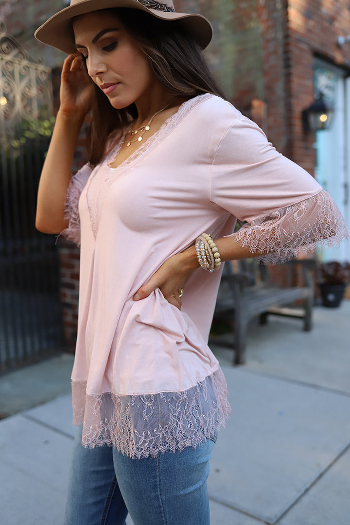 Calla Lace Detail Top  - Dusty Rose - Barefoot Dreamer