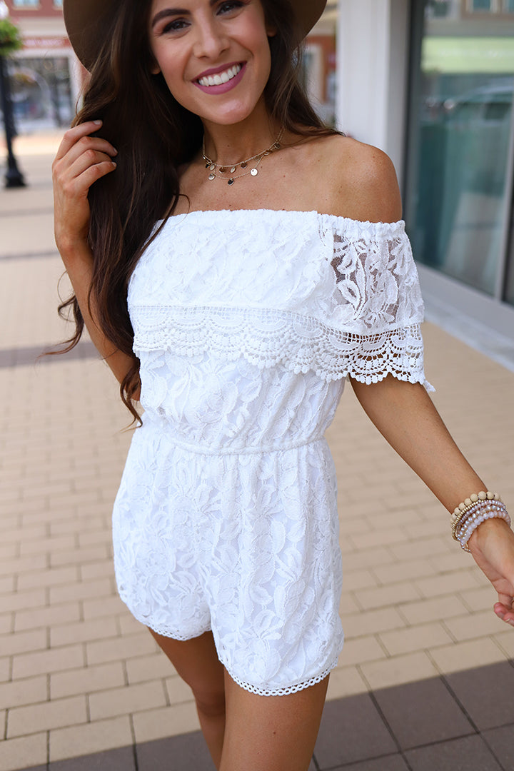 Annah Off- Shoulder White Lace Crochet Romper - Barefoot Dreamer