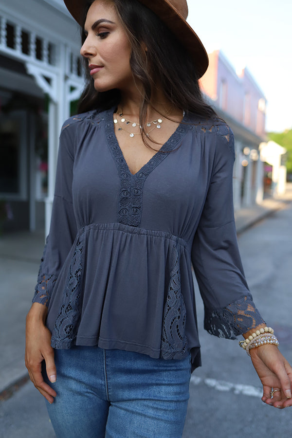 Everly Lace Detail Peasant Top - Grey - Barefoot Dreamer
