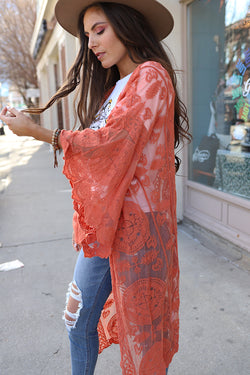 Boho Babe Bell Sleeve Lace Kimono Duster - Coral - Barefoot Dreamer