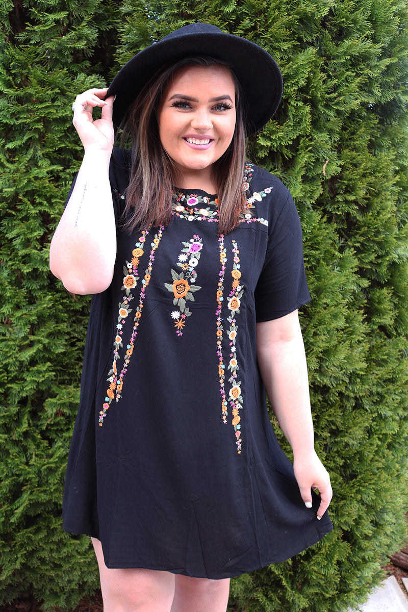 Kiera Black Embroidered A-Line Tee Dress - Curvy - Barefoot Dreamer