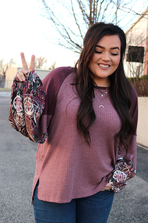 Paislee Waffle Knit Floral Print Bubble Sleeve Top - Curvy - Barefoot Dreamer