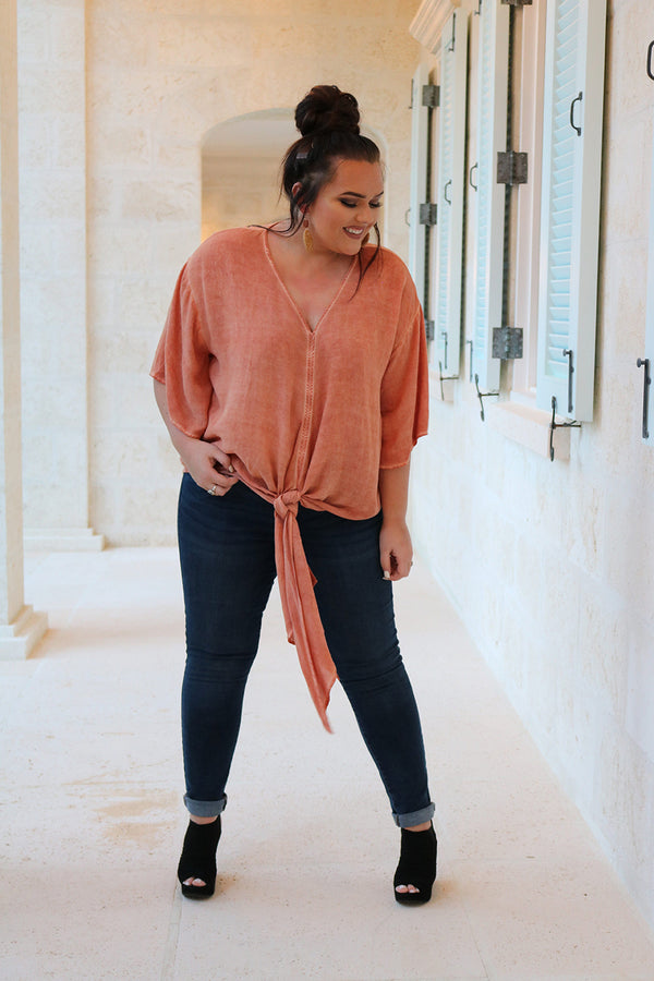 Aliza Salmon Front Tie Top - Curvy - Barefoot Dreamer
