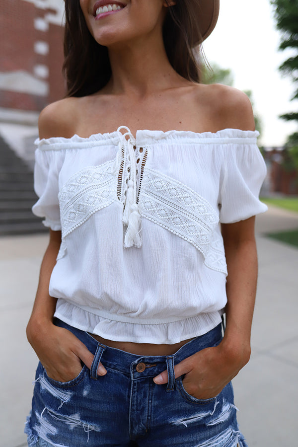 Scarlett Off-Shoulder Boho Peasant White Crochet Top - Barefoot Dreamer