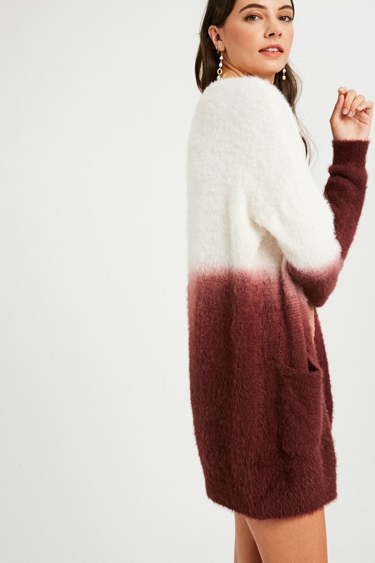 Analyse Dip Dyed Soft Fur Knit Cardigan - Plum - Barefoot Dreamer