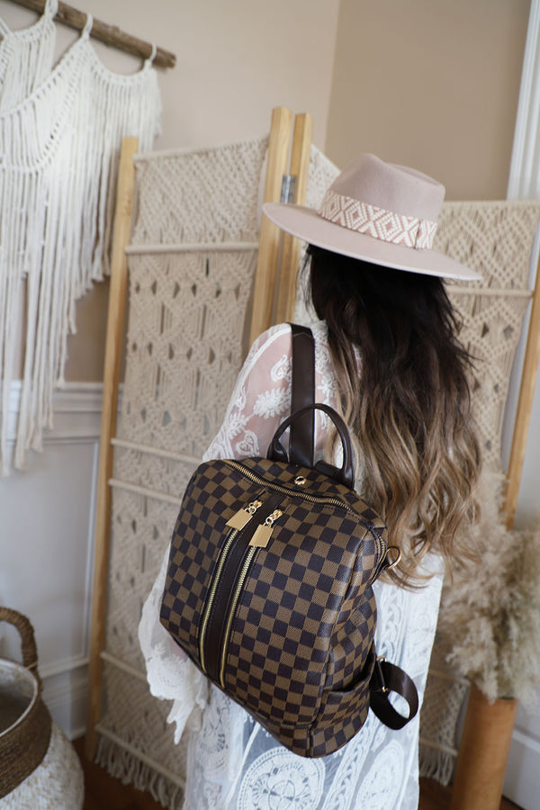 The Luxe Checkered Backpack - Brown