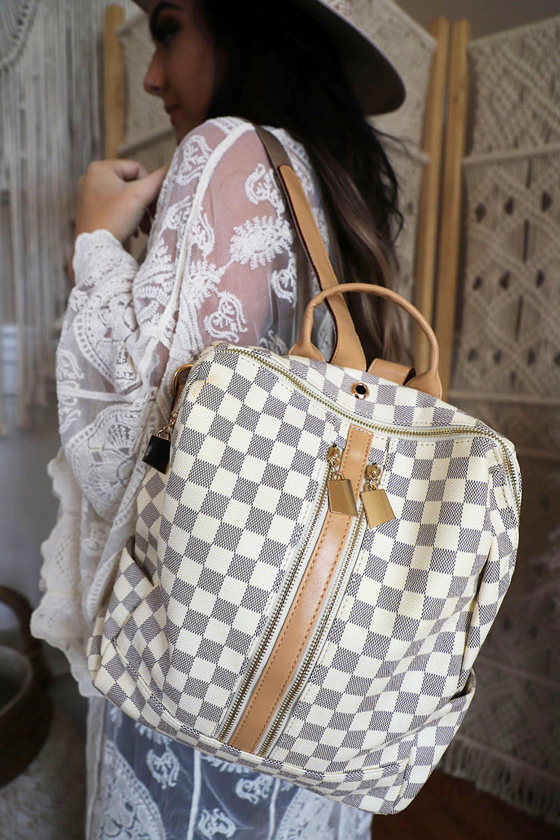 The Luxe Checkered Backpack - Cream