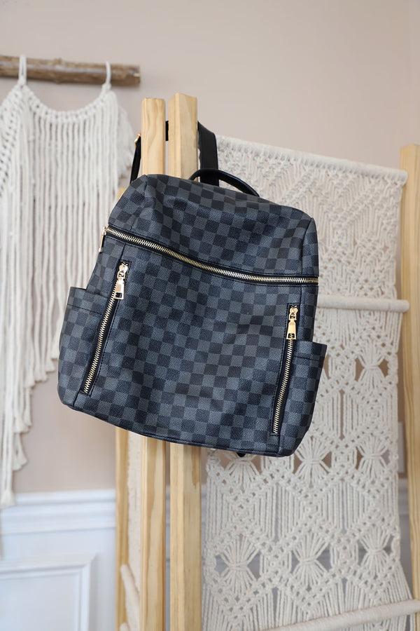 The Luxe Checkered Horizontal Zip Backpack - Black