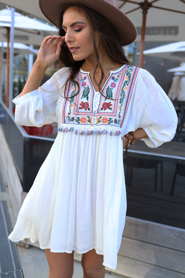 Boho Dream White Embroidered Tassel Dress - Barefoot Dreamer