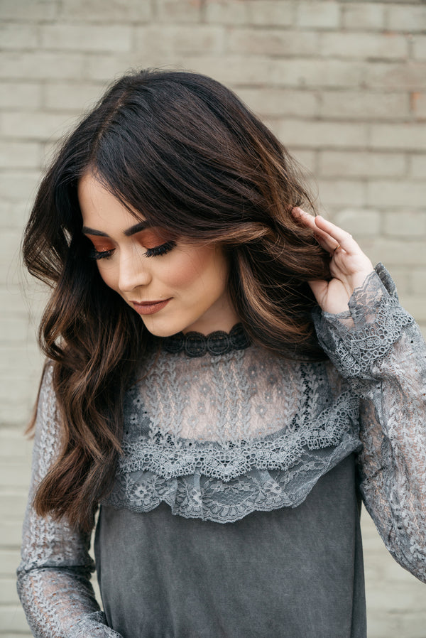 Emery Mock Neck Ruffle Lace Top - Charcoal - Barefoot Dreamer