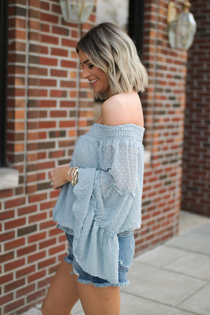 Josephine Smocked Off Shoulder Bell Sleeve Top - Blue - Barefoot Dreamer