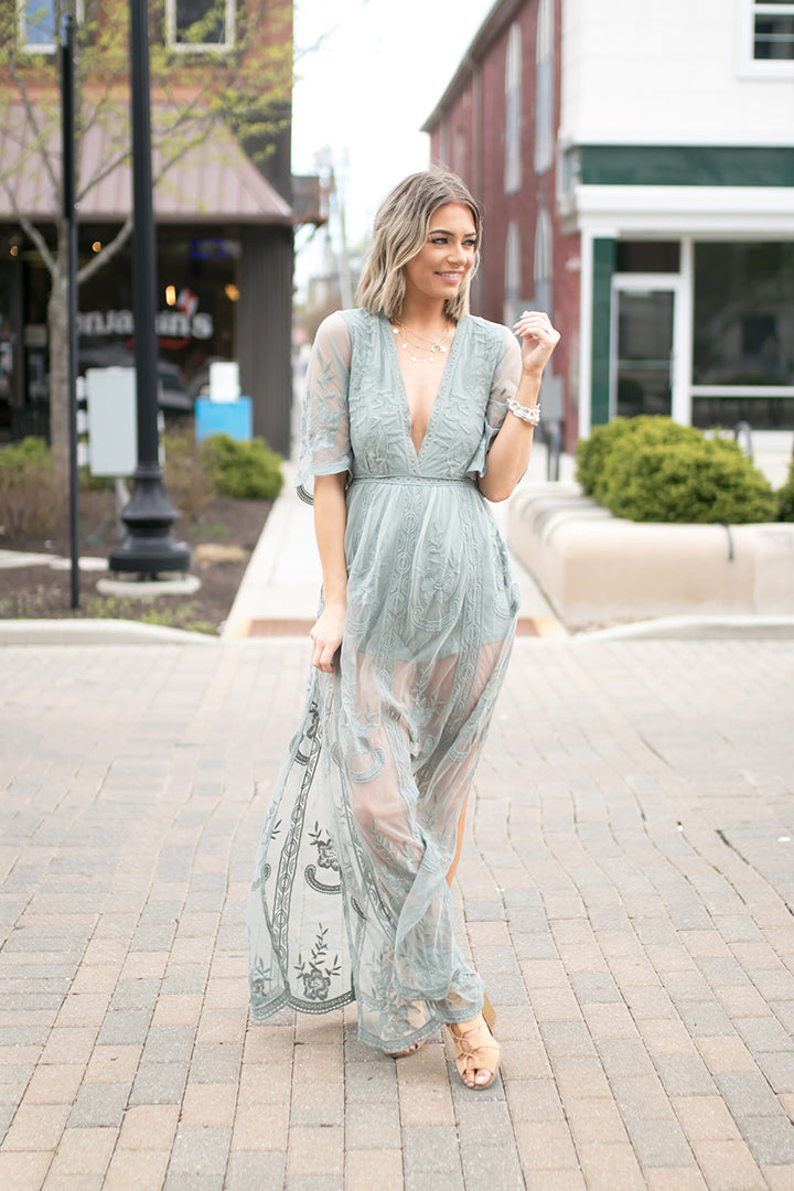 Amelia Embroidered Lace Maxi Romper - Sage - Barefoot Dreamer