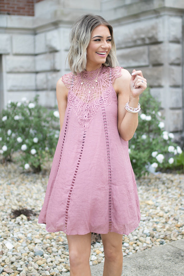 Talia Shift Dress With Crochet Neckline - Mauve - Barefoot Dreamer