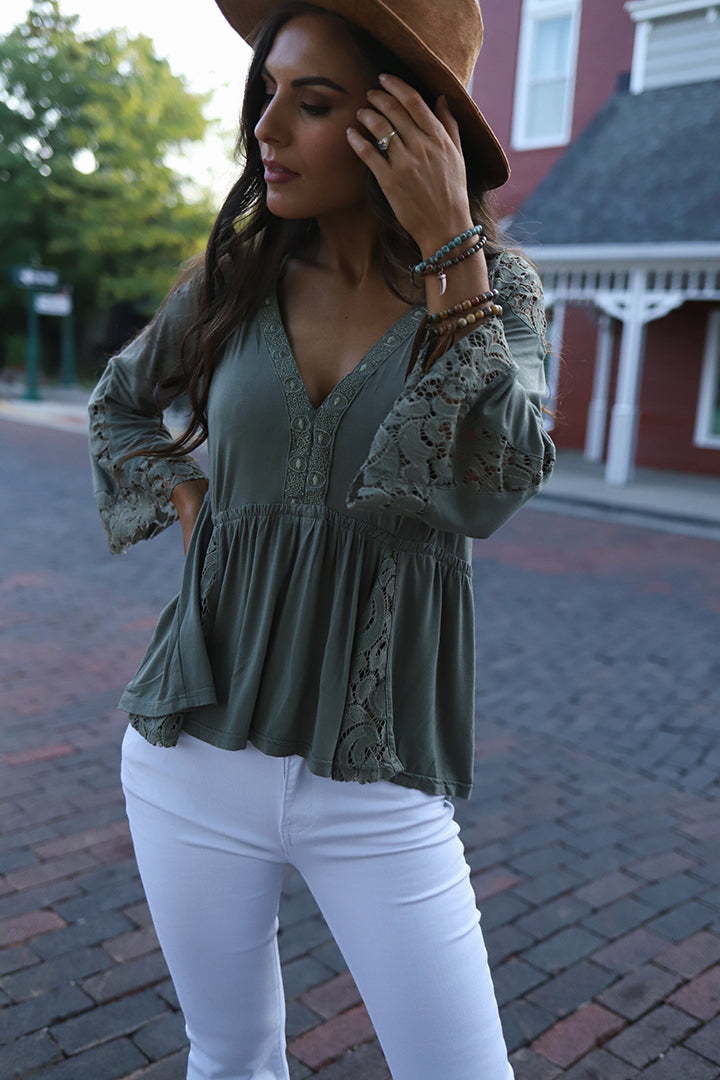 Everly Lace Detail Peasant Top - Olive - Barefoot Dreamer