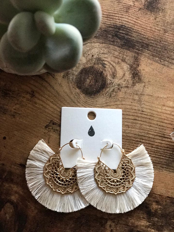 Deja Boho Tassel Fan Earrings -Ivory - Barefoot Dreamer