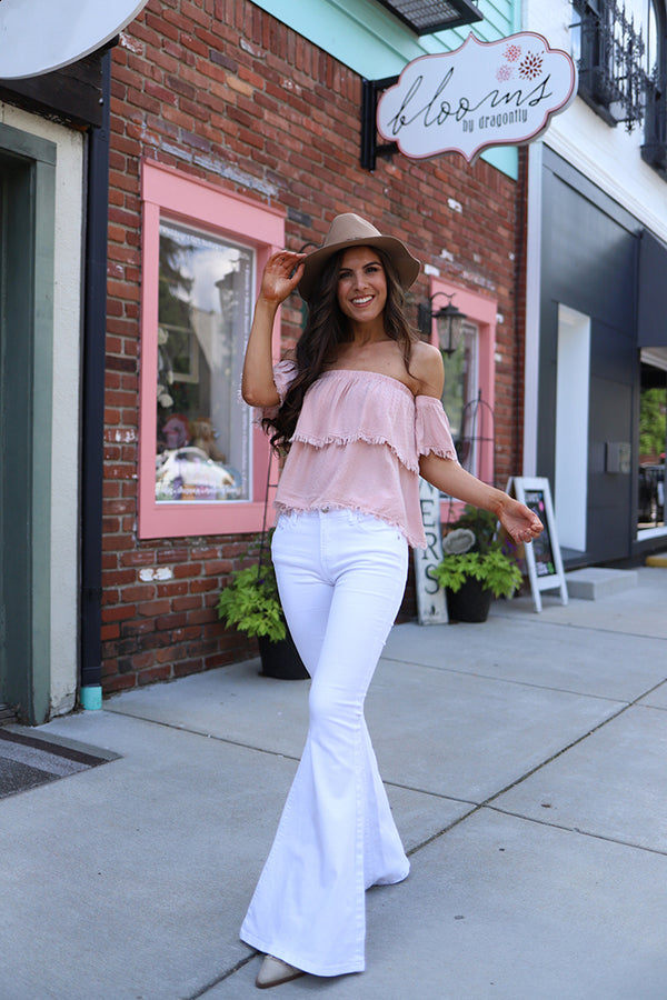 Free Your Soul White Judy Blue Bell Bottom Jeans - Barefoot Dreamer