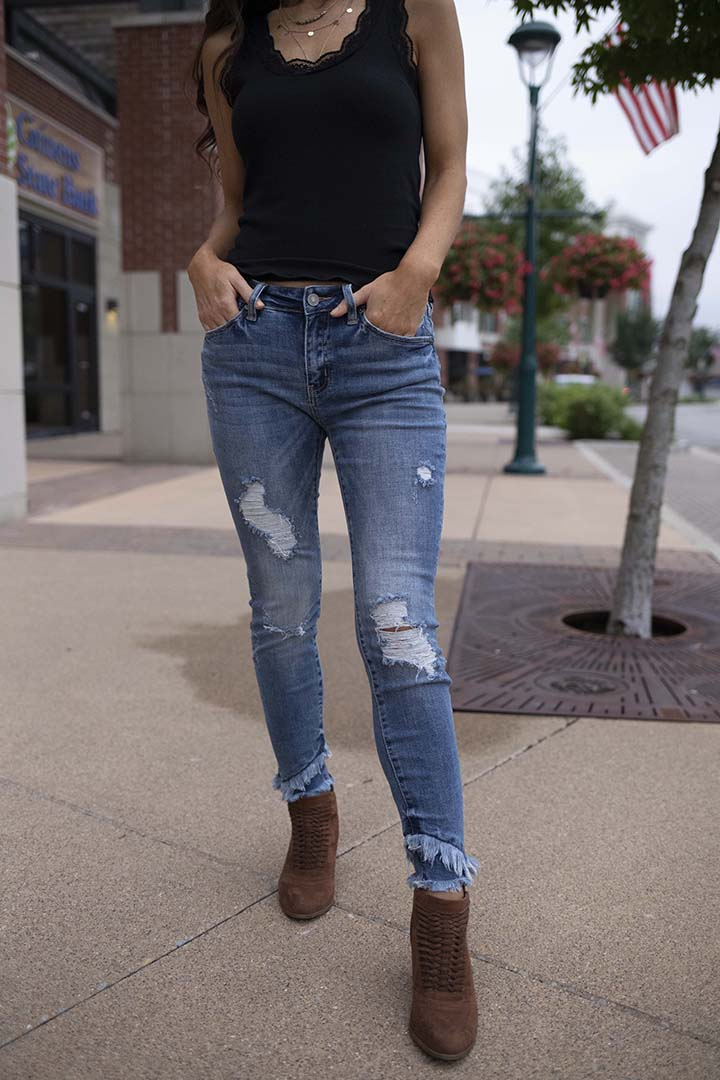 Fringe With Benefits Distressed Ankle Skinny Jeans - Barefoot Dreamer