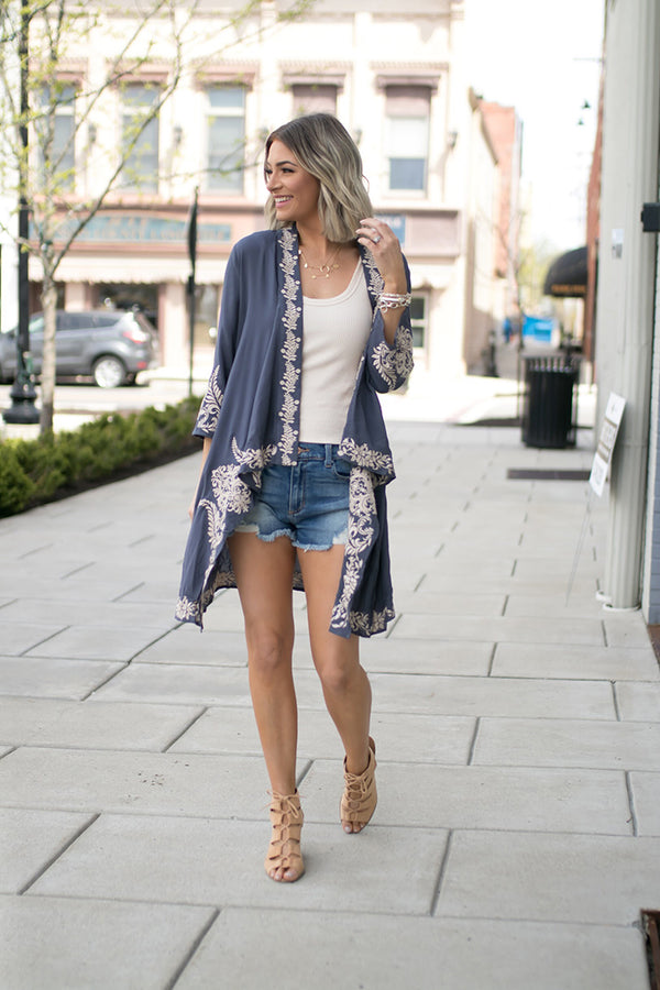 Remy Embroidered Waterfall Cardigan - Barefoot Dreamer