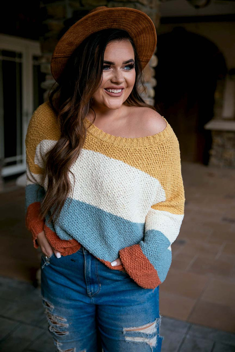 Weekend Vibes Cotton Colorblock Sweater - Barefoot Dreamer