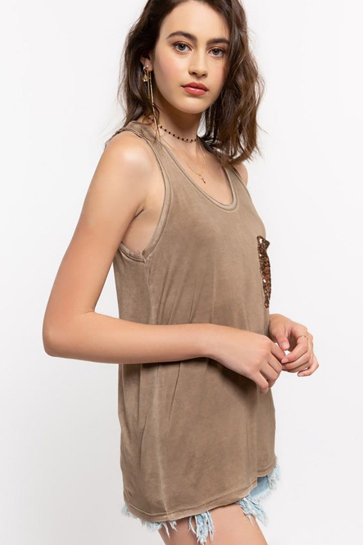 Cherie Sequin Pocket Knit Tank Top - Moss Brown - Barefoot Dreamer