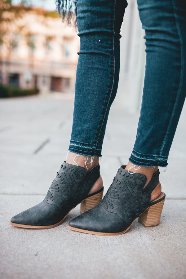 Ryder Slingback Suede Booties - Charcoal - Barefoot Dreamer