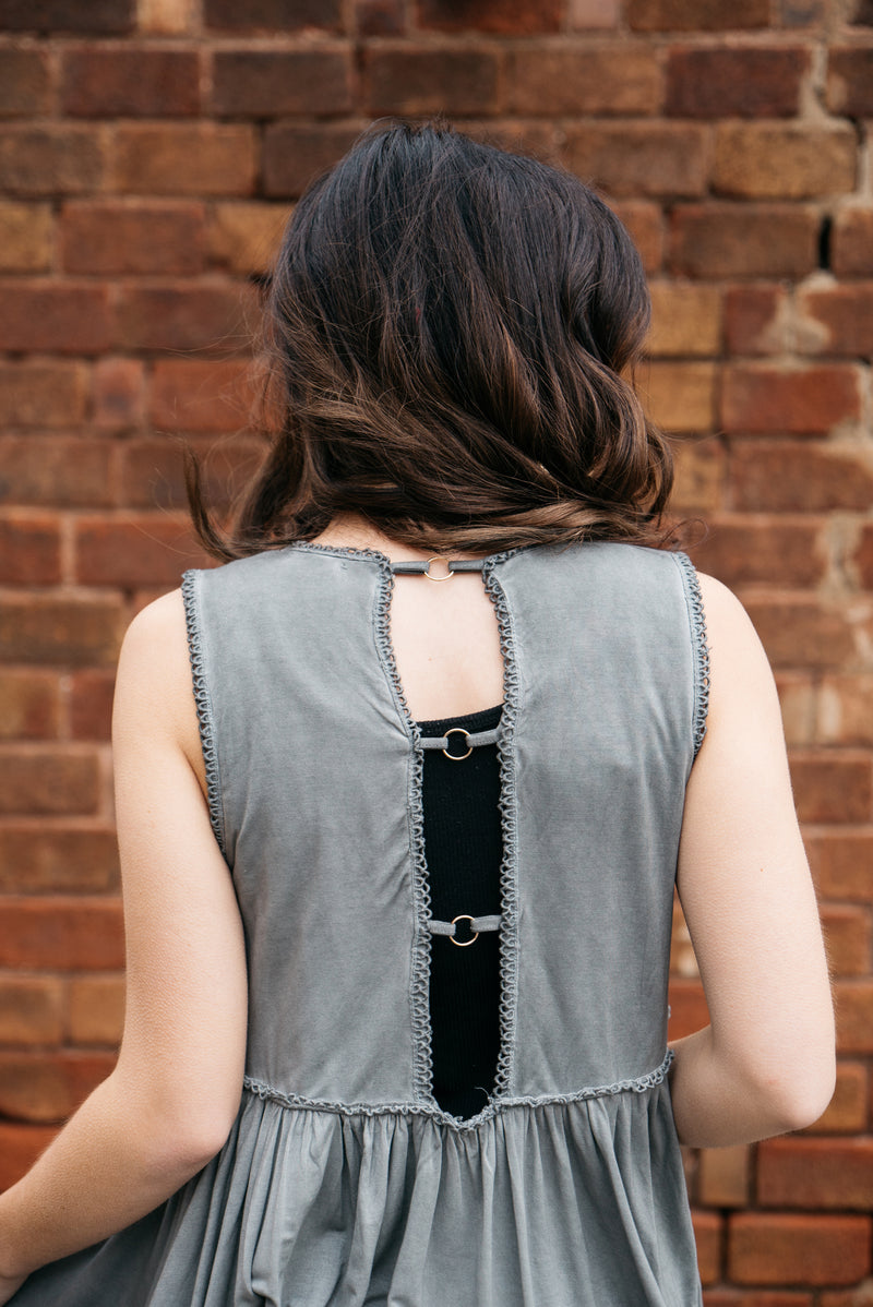 Scarlett Peplum Lace Detail Top - Charcoal - Barefoot Dreamer