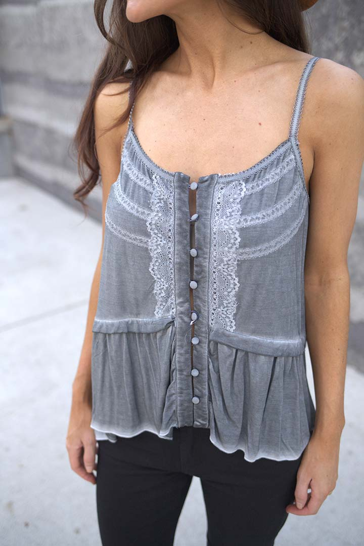 Mila Lace Detail Baby Doll Top - Grey - Barefoot Dreamer