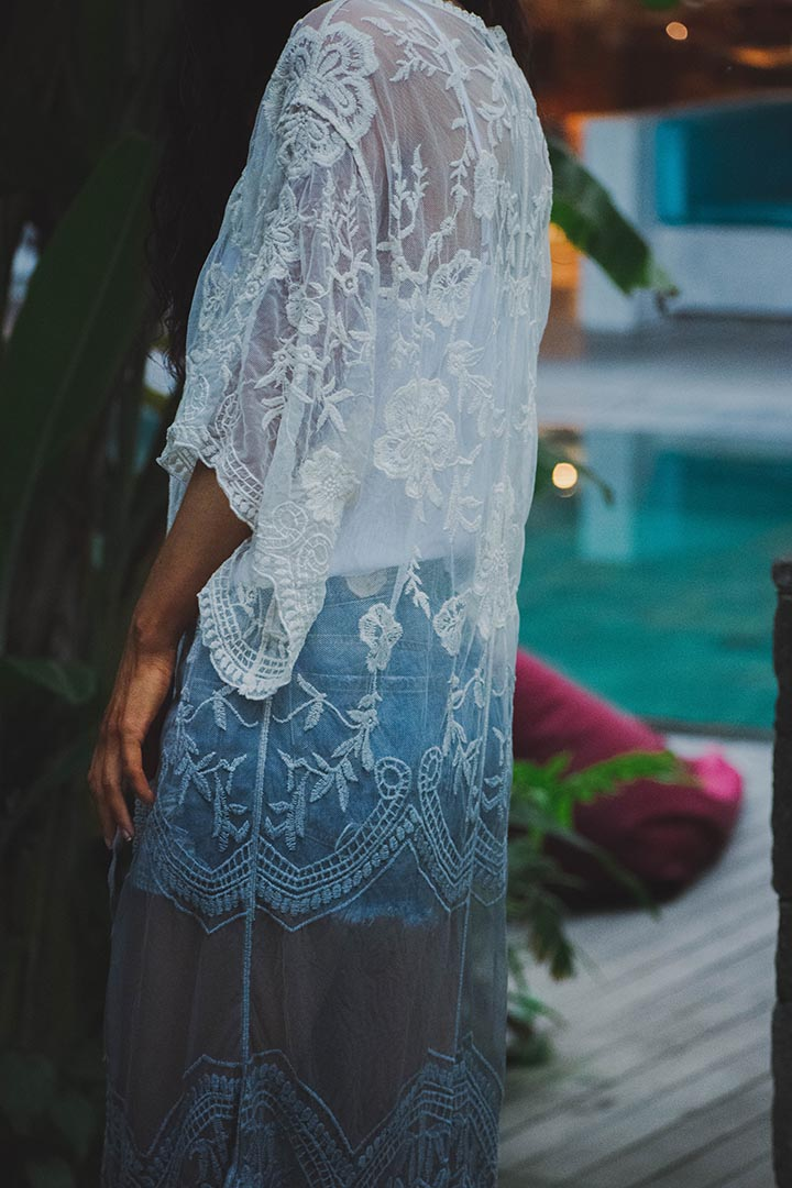 Soleil Lace Crochet Dip Dyed Kimono Duster - Grey - Barefoot Dreamer